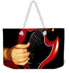 Red Gibson Guitar Weekender Tote Bag by Chris Berry