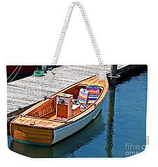 Small Dinghy Boat Art Prints Weekender Tote Bag by Valerie Garner