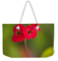 Small Red Flowers With Blurry Background Weekender Tote Bag
