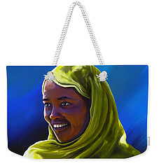 Weekender Tote Bag featuring the painting Smiling Lady by Anthony Mwangi