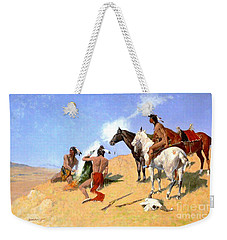 Weekender Tote Bag featuring the painting Smoke Signals by Pg Reproductions