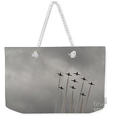 Weekender Tote Bag featuring the pyrography Smoking Planes by Tracey Williams