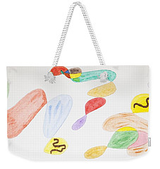 Weekender Tote Bag featuring the painting Baby Snakes by Stormm Bradshaw