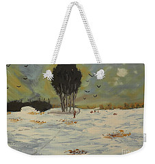 Weekender Tote Bag featuring the painting Snow At Christmas by Pamela  Meredith