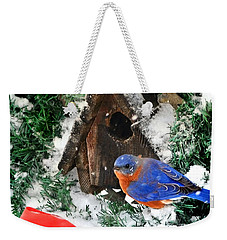 Snow Bluebird Christmas Card Weekender Tote Bag