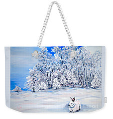 Weekender Tote Bag featuring the painting Snow Bunny by Phyllis Kaltenbach