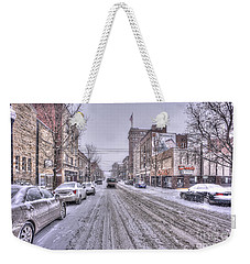 Snow Covered High Street And Cars In Morgantown Weekender Tote Bag