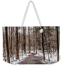 Weekender Tote Bag featuring the photograph Snow Covered Trail by Debbie Green