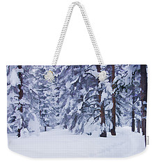 Snow-dappled Woods Weekender Tote Bag by Don Schwartz