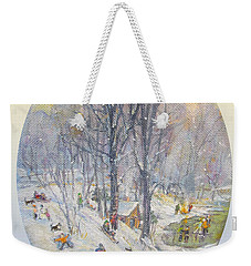 Weekender Tote Bag featuring the painting Snow Day by Donna Tucker