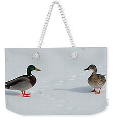 Snow Ducks Weekender Tote Bag by Mim White
