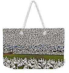Weekender Tote Bag featuring the photograph Snow Geese By The Thousands by Valerie Garner