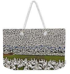 Snow Geese By The Thousands Weekender Tote Bag by Valerie Garner
