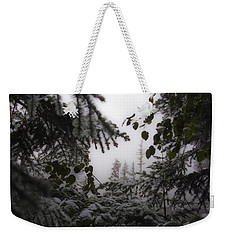 Weekender Tote Bag featuring the photograph Snow In Trees At Narada Falls by Greg Reed