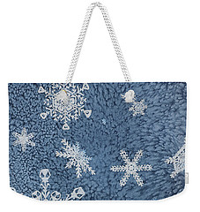 Weekender Tote Bag featuring the painting Snow Jewels by Margaret Bobb