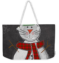Snow Kitten Weekender Tote Bag by Linda Woods