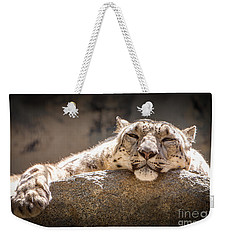 Snow Leopard Relaxing Weekender Tote Bag