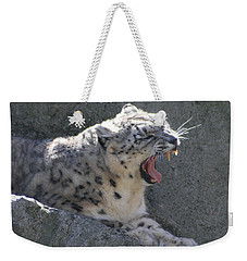 Weekender Tote Bag featuring the photograph Snow Leopard Yawn by Neal Eslinger