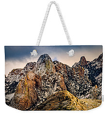 Weekender Tote Bag featuring the photograph Snow On Peaks 45 by Mark Myhaver