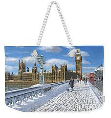 Snow On Westminster Bridge Weekender Tote Bag by Richard Harpum