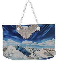 Snow Owl Weekender Tote Bag by Dianna Lewis