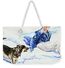 Snow Play Sadie And Andrew Weekender Tote Bag