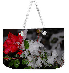 Snow Rose Weekender Tote Bag by Mim White