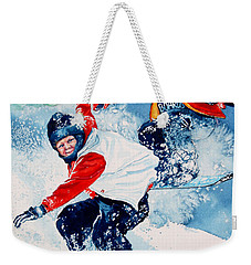 Weekender Tote Bag featuring the painting Snowboard Super Heroes by Hanne Lore Koehler