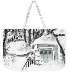 Weekender Tote Bag featuring the digital art Snowbound by Jean Pacheco Ravinski