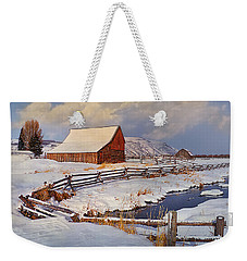 Weekender Tote Bag featuring the photograph Snowed In by Priscilla Burgers