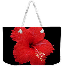 Weekender Tote Bag featuring the photograph Snowflake Hibiscus by Judy Whitton