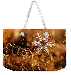 Snowflake On Brown Weekender Tote Bag