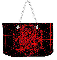 Weekender Tote Bag featuring the drawing Snowflake Shape Comes From Frequency And Mass by Jason Padgett