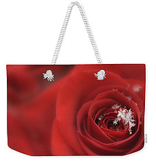 Snowflakes On A Rose Weekender Tote Bag