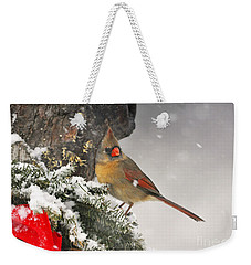 Weekender Tote Bag featuring the photograph Female Cardinal Snowing by Nava Thompson