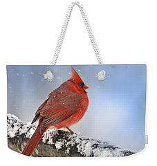 Weekender Tote Bag featuring the photograph Snowing On Red Cardinal by Nava Thompson