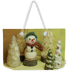 Snowman And Trees Holiday Weekender Tote Bag by Mary Wolf