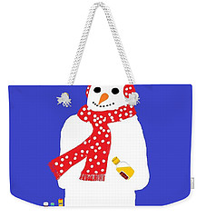 Weekender Tote Bag featuring the digital art Snowman by Barbara Moignard