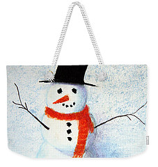 Weekender Tote Bag featuring the pastel Snowman by Marna Edwards Flavell