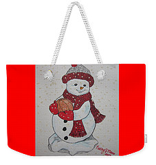 Snowman Playing Basketball Weekender Tote Bag