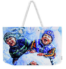 Weekender Tote Bag featuring the painting Snowmen by Hanne Lore Koehler