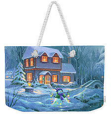 Weekender Tote Bag featuring the painting Snowy Bright Night by Michael Humphries