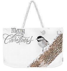 Snowy Chickadee Christmas Card Weekender Tote Bag