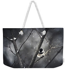 Snowy Chickadee Weekender Tote Bag by Shane Holsclaw