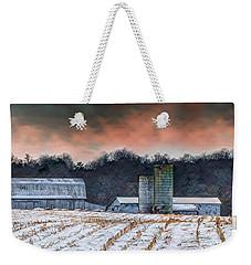 Snowy Cornfield Weekender Tote Bag
