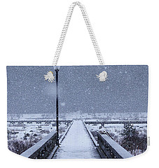 Snowy Day On The Boardwalk Weekender Tote Bag by Stanza Widen