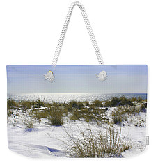 Weekender Tote Bag featuring the photograph Snowy Dunes by Karen Silvestri