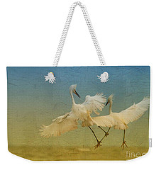 Snowy Egret Dance Weekender Tote Bag by Deborah Benoit