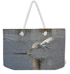 Weekender Tote Bag featuring the photograph Snowy Egret Wind Sailing by John M Bailey