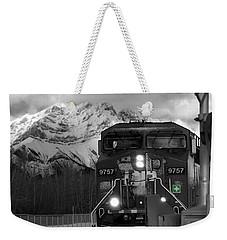Snowy Engine Through The Rockies Weekender Tote Bag